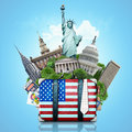 Usa landmarks usa travel suitcase and new york Stock Photo
