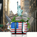 Usa landmarks usa travel suitcase and new york Royalty Free Stock Photography