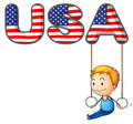 The usa letters with a young boy playing illustration of on white background Royalty Free Stock Photography