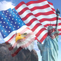 Usa liberty flag collage of the with american symbols the eagle and statute Stock Photo