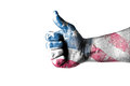 Usa likes this concept with thumbs up and usa flag Royalty Free Stock Image