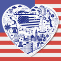 USA Love. Isolated set with american vector icons and symbols in form of heart Royalty Free Stock Photo