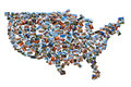 Usa map shape drawn with pictures over white background Royalty Free Stock Image