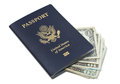 USA Passport and cash Royalty Free Stock Photography