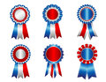 Usa patriotic award ribbon rosette rosettes clipart collection isolated on white Royalty Free Stock Photos