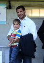 USA Perpignan's Farid Sid and his son Stock Images
