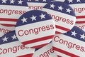 USA Politics News Badges: Pile of Congress Buttons With US Flag 3d illustration