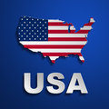 Usa poster us flag map on blue background Stock Photo