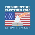 USA presidential election day concept vector illustration. Hand putting voting paper in the ballot box with american