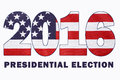 Usa presidential election flag with image of stars and stripes in outline of year on white background with sample text Royalty Free Stock Photos