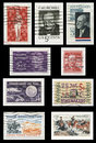 Usa s stamps collage of various vintage during the period isolated on black background Royalty Free Stock Photos