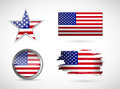 Usa set of different flags illustration design over white Stock Images