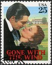 USA - 1990: shows Gone with the wind, Vivien Leigh as Scarlett, Clark Gable  as Rhett, Classic Films Royalty Free Stock Photo
