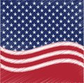 USA star vector background. American patriotic paper cut frame with stars and stripes pattern. Royalty Free Stock Photo
