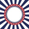 USA star vector pattern round frame. American patriotic circle border with stars and stripes pattern. Royalty Free Stock Photo