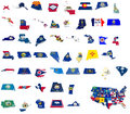 Usa state flags on d maps white isolated Royalty Free Stock Images