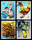 Usa superhero postage stamps set of used printed in the showing the superheroes sub mariner iron man the thing and wolverine circa Stock Images