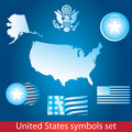 USA symbol set Royalty Free Stock Images