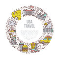 The USA symbols in line style