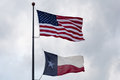 USA and Texas State Flag Stock Photography