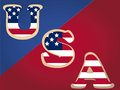 Usa text some colored with the american flag color in a red blue background Royalty Free Stock Photo