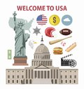 USA travel or America tourism welcome poster template vector tourist landmarks attractions