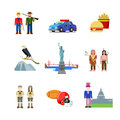 USA United States America American culture national vector flat Royalty Free Stock Photo