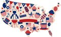USA vector icons for american independence day Royalty Free Stock Image