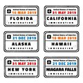 USA vector passport stamps Royalty Free Stock Photo