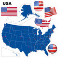 USA vector set. Stock Photos