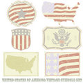 USA vintage symbol set Stock Photos