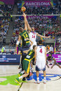 Usa vs lithuania jonas valanciunas and anthony davis in action at fiba world cup basketball match between team and final score on Royalty Free Stock Photography