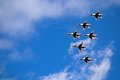 Usaf thunderbirds on practice day the thuderbirds gather to fly over the academy in colorado springs prior to graduation day Stock Image