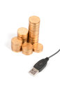 USB cable and coin Stock Image
