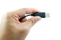 Usb cable in hand black use its ready to use Royalty Free Stock Images
