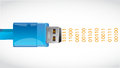 Usb connection and binary data. illustration Royalty Free Stock Photo