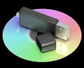 Usb and dvd memory shows portable storage showing Royalty Free Stock Images