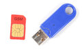 USB flash disk and sim card Stock Photos