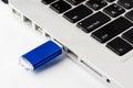USB Flash drive on computer laptop keyboard Royalty Free Stock Photo