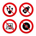 Usb flash drive icons notebook or laptop pc no ban stop signs symbols cd dvd sign compact disc prohibition forbidden red Stock Image