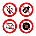 Usb flash drive icons notebook or laptop pc no ban stop signs symbols smartphone device cd dvd sign compact disc prohibition Royalty Free Stock Photos