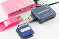 Usb flash drive set and sd card Stock Image