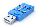 Usb flash drive with the vault blue d concept Royalty Free Stock Image