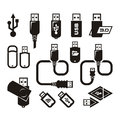 Usb icons vector format authors illustration in Royalty Free Stock Image