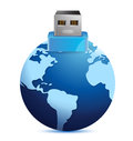USB plug made as an extension of earth globe Stock Photos