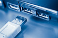 Usb plug near laptop Royalty Free Stock Photo