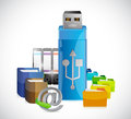 Usb storage folders and documents illustration Royalty Free Stock Photo