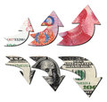 Usd down rmb up financial concept Stock Photo