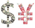 Usd and rmb sylmbols shaped by paper currency Royalty Free Stock Image