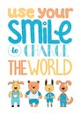 Use your smile to change the world. Hand drawn in vector Royalty Free Stock Photo